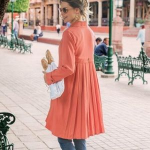 Soft Surroundings Coral Pleated Trench Coat